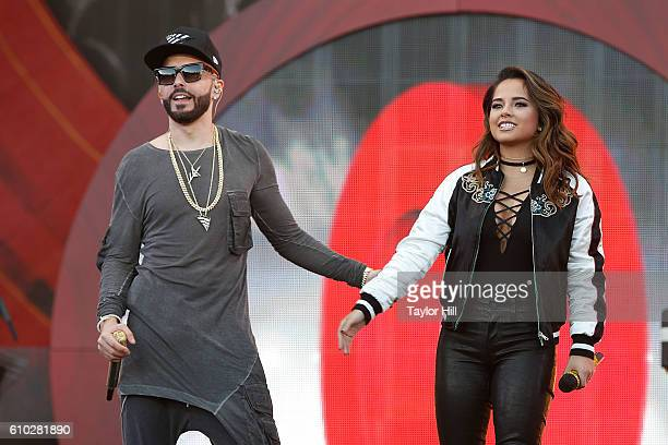 Yandel and Becky G perform during the 2016 Global Citizen Festival at Central Park on September 24 2016 in New York City