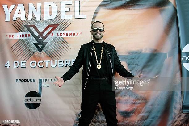 Yandel holds a press conference at Coliseo Jose M Agrelot on September 24 2014 in San Juan Puerto Rico