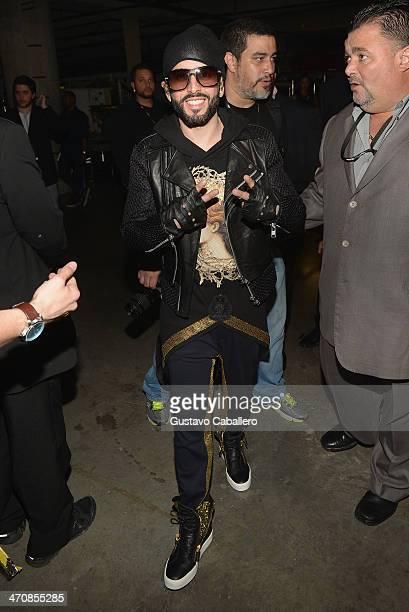 Yandel poses backstage at Premio Lo Nuestro a la Musica Latina 2014 at American Airlines Arena on February 20 2014 in Miami Florida