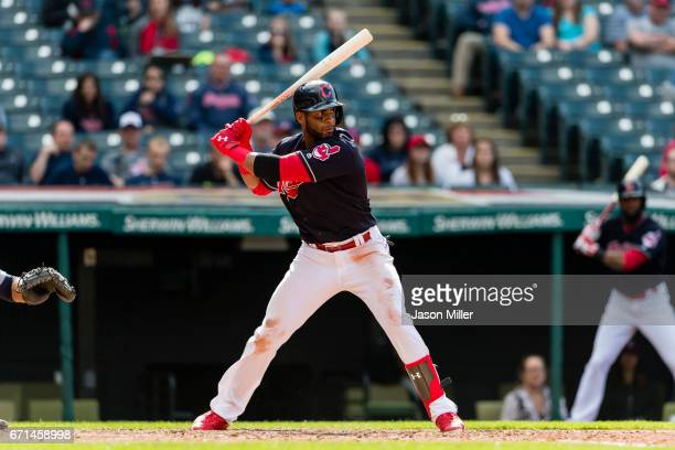 Yandy Diaz of the Cleveland Indians at bat during the ninth inning against the Detroit Tigers at Progressive Field on April 16 2017 in Cleveland Ohio...