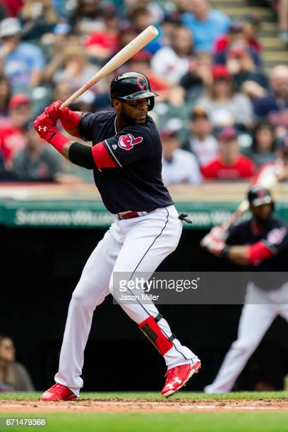 Yandy Diaz of the Cleveland Indians at bat during the second inning against the Detroit Tigers at Progressive Field on April 16 2017 in Cleveland Ohio