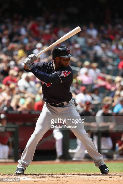 Yandy Diaz of the Cleveland Indians bats against the Arizona Diamondbacks during the MLB game at Chase Field on April 9 2017 in Phoenix Arizona