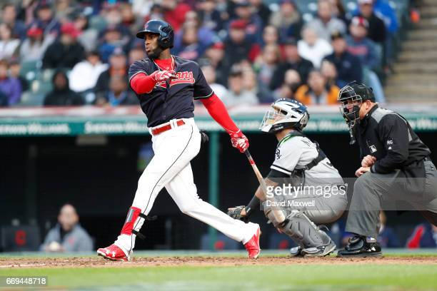Yandy Diaz of the Cleveland Indians bats against the Chicago White Sox in the fifth inning at Progressive Field on April 12 2017 in Cleveland Ohio...
