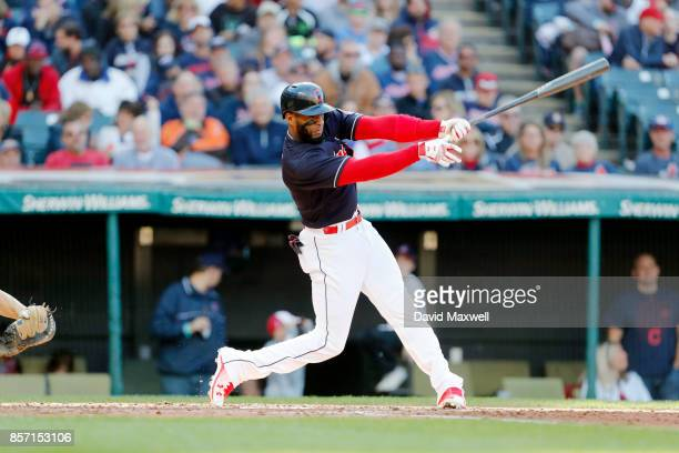 Yandy Diaz of the Cleveland Indians bats against the Chicago White Sox in the fourth inning at Progressive Field on October 1 2017 in Cleveland Ohio...