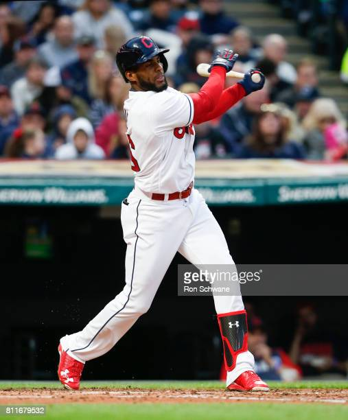 Yandy Diaz of the Cleveland Indians bats against the Detroit Tigers during the second inning at Progressive Field on April 14 2017 in Cleveland Ohio