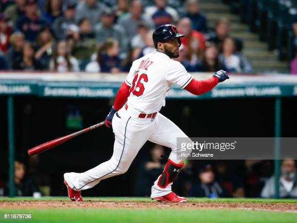 Yandy Diaz of the Cleveland Indians bats against the Detroit Tigers during the eighth inning at Progressive Field on April 14 2017 in Cleveland Ohio