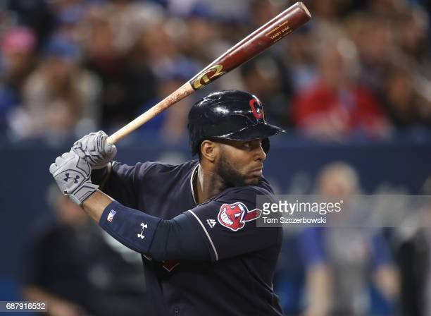 Yandy Diaz of the Cleveland Indians bats in the third inning during MLB game action against the Toronto Blue Jays at Rogers Centre on May 10 2017 in...