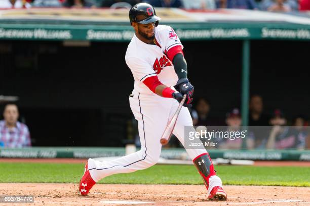 Yandy Diaz of the Cleveland Indians hits a single during the second inning against the Detroit Tigers at Progressive Field on April 15 2017 in...