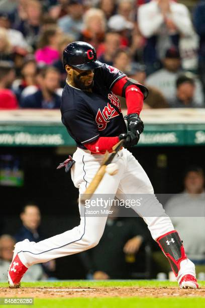 Yandy Diaz of the Cleveland Indians hits an RBI single during the sixth inning against the Detroit Tigers at Progressive Field on September 11 2017...