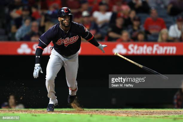 Yandy Diaz of the Cleveland Indians hits an RBI single during the sixth inning of a game against the Los Angeles Angels of Anaheim at Angel Stadium...
