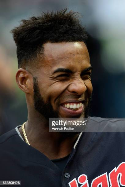 Yandy Diaz of the Cleveland Indians looks on before the game against the Minnesota Twins on April 18 2017 at Target Field in Minneapolis Minnesota...