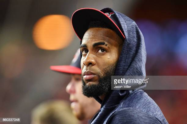 Yandy Diaz of the Cleveland Indians looks on from the dugout in the fifth inning against the New York Yankees in Game Five of the American League...