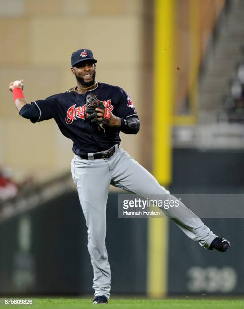 Yandy Diaz of the Cleveland Indians makes a play at third base against the Minnesota Twins during the game on April 18 2017 at Target Field in...