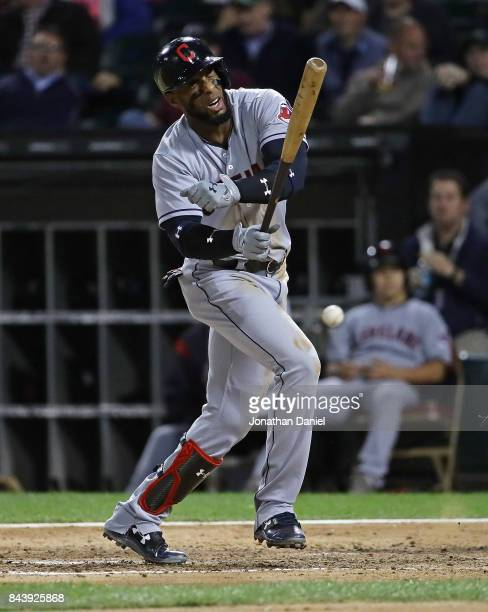 Yandy Diaz of the Cleveland Indians reacts after being hit by a pitch in the 6th inning against the Chicago White Sox at Guaranteed Rate Field on...