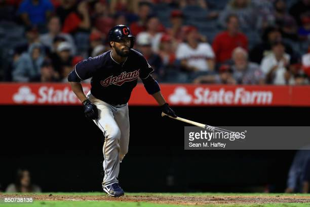 Yandy Diaz of the Cleveland Indians runs to first base during an at bat during a game against the Los Angeles Angels of Anaheim at Angel Stadium of...