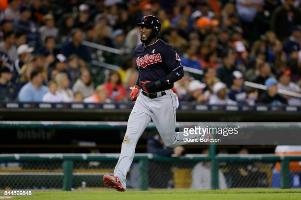 Yandy Diaz of the Cleveland Indians scores against the Detroit Tigers during game two of a doubleheader at Comerica Park on September 1 2017 in...