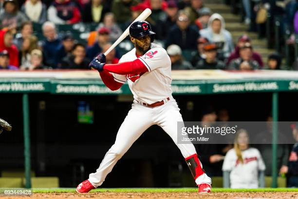 Yandy Diaz of the Cleveland Indians singles during the fifth inning against the Chicago White Sox at Progressive Field on April 13 2017 in Cleveland...