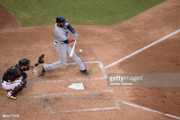 Yandy Diaz of the Cleveland Indians singles to center in the fifth inning against the Arizona Diamondbacks at Chase Field on April 8 2017 in Phoenix...