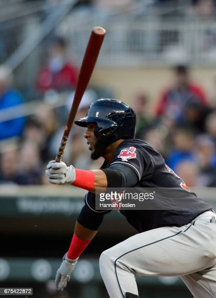 Yandy Diaz of the Cleveland Indians takes an at bat against the Minnesota Twins during the game on April 17 2017 at Target Field in Minneapolis...