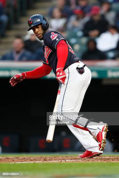 Yandy Diaz of the Cleveland Indians walks against the Chicago White Sox in the fifth inning at Progressive Field on April 12 2017 in Cleveland Ohio...