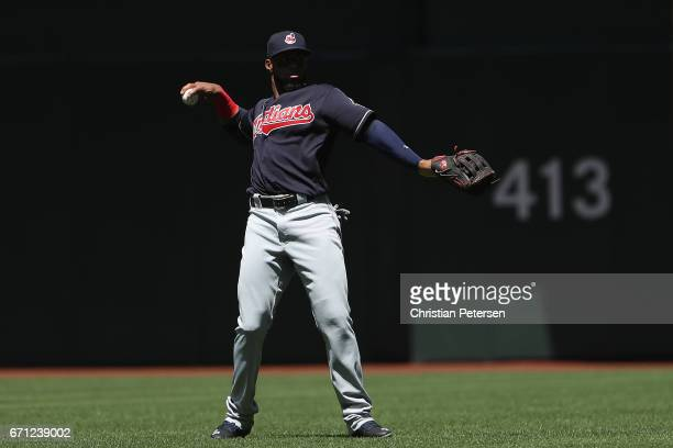 Yandy Diaz of the Cleveland Indians warms up before the MLB game against the Arizona Diamondbacks at Chase Field on April 9 2017 in Phoenix Arizona