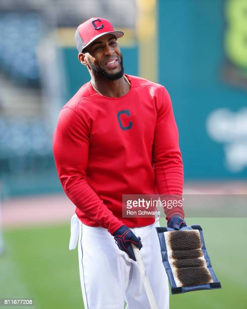 Yandy Diaz of the Cleveland Indians warms up during batting practice before a game against the Detroit Tigers at Progressive Field on April 14 2017...