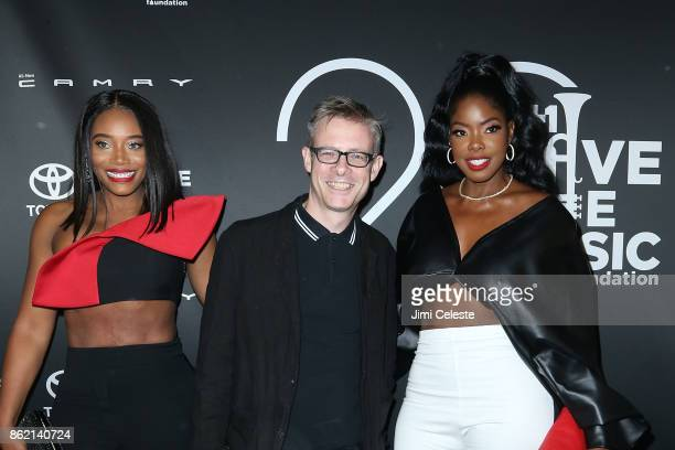 Yandy Smith JIm Donahue and Juju G attend the VH1 Save The Music 20th Anniversary #TurnItUpTo20 Gala at SIR Stage37 on October 16 2017 in New York...