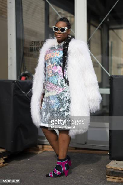 Yandy SmithHarris is seen attending Vivienne Tam during New York Fashion Week while wearing ADRIENNE LANDAU Vivienne Tam Missoni and Mercura NYC on...