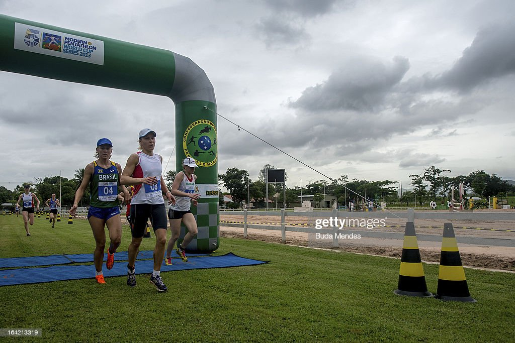 Yane Marques of Brazil (#4) competes in the Women's Pentathlon during the Modern Pentathlon World Cup Series 2013 at Complexo Deodoro on March 20, 2013 in Rio de Janeiro, Brazil.