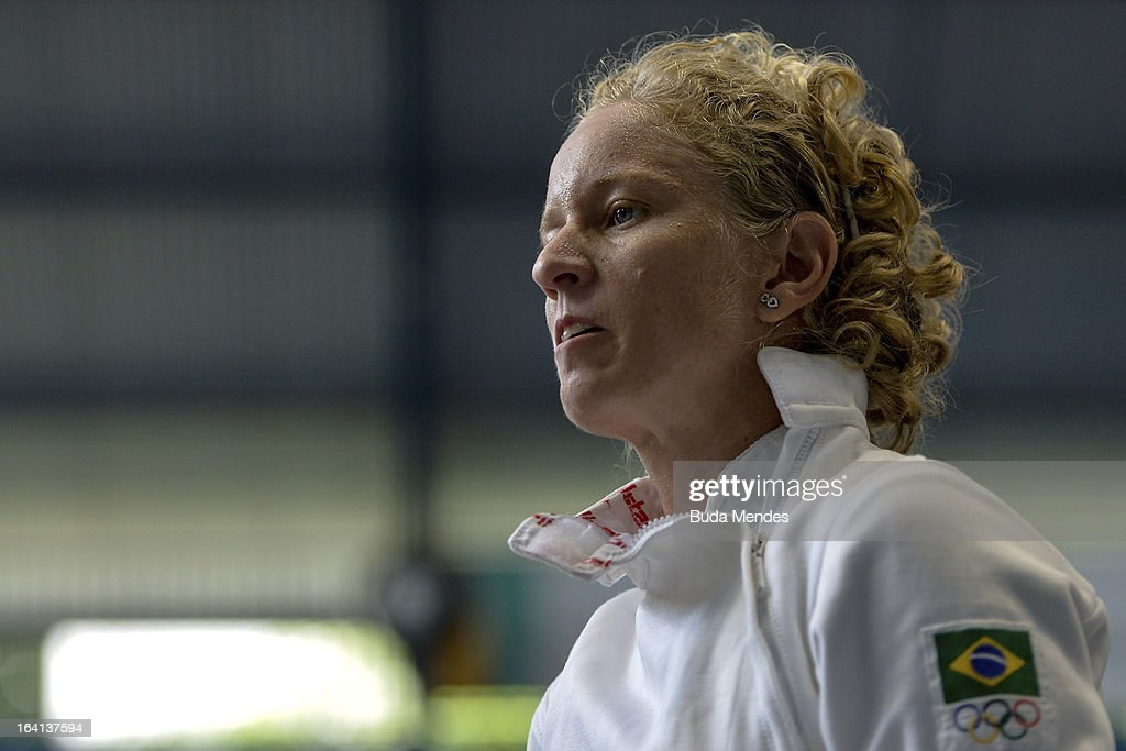 <a gi-track='captionPersonalityLinkClicked' href=/galleries/search?phrase=Yane+Marques&family=editorial&specificpeople=5500164 ng-click='$event.stopPropagation()'>Yane Marques</a> of Brazil looks on prior to the fencing competition in the Women's Pentathlon during the Modern Pentathlon World Cup Series 2013 at Complexo Deodoro on March 20, 2013 in Rio de Janeiro, Brazil.