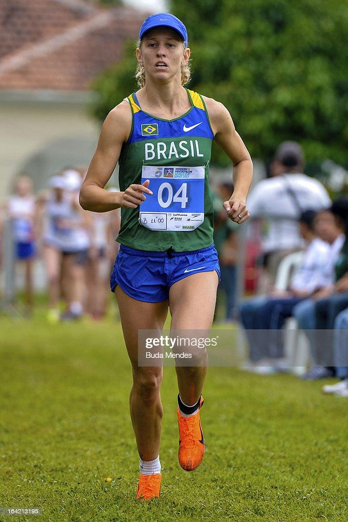 Yane Marques of Brazil runs in the Women's Pentathlon during the Modern Pentathlon World Cup Series 2013 at Complexo Deodoro on March 20, 2013 in Rio de Janeiro, Brazil.