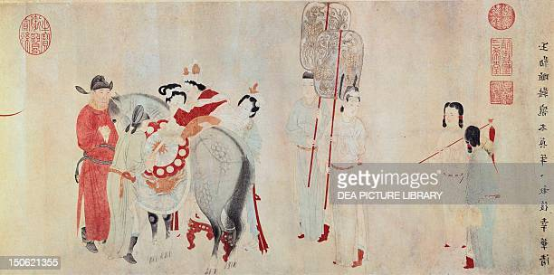 Yang Gui Fei mounting his horse by Qian Xuan coloured ink on paper China Chinese Civilisation 13th century