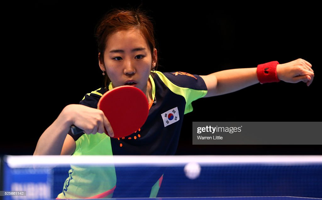 Yang Haeun of Korea in action during the Women's Singles Challenge against Tie Yana of Hong Kong during day two of the Nakheel Table Tennis Asian Cup 2016 at Dubai World Trade Centre on April 29, 2016 in Dubai, United Arab Emirates.