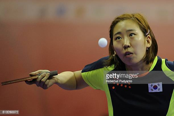 Yang Haeun of Korea Republic competes against Lee Ho Ching of Hong Kong during the 2016 World Table Tennis Championship Women's Team Division Round 5...