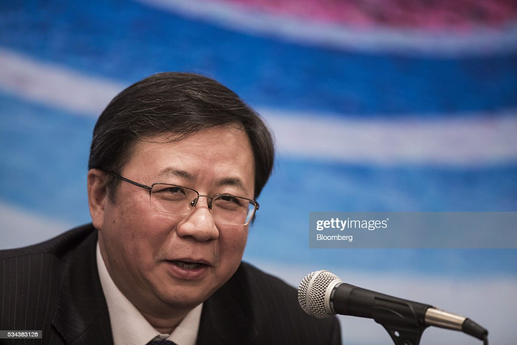 Yang Hua, chairman of Cnooc Ltd., speaks during a news conference following the company's annual general meeting in Hong Kong, China, on Thursday, May 26, 2016. Cnooc operates in the South China Sea in accordance with China's rules and regulations, Yang said after a shareholder meeting in Hong Kong. Photographer: Justin Chin/Bloomberg via Getty Images