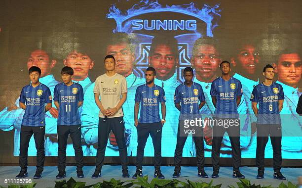 Yang Jiawei Xie Pengfei Gu Chao Alex Teixeira Ramires Jo and Trent Sainsbury of Jiangsu Suning FC attend the mobilization meeting for the AFC...