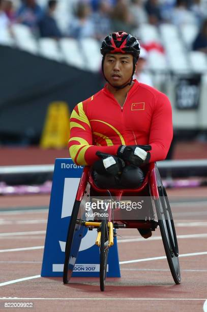 LR Yang Liu of China and Yang Liu of China and compete Men's 800m T54 Final during World Para Athletics Championships at London Stadium in London on...