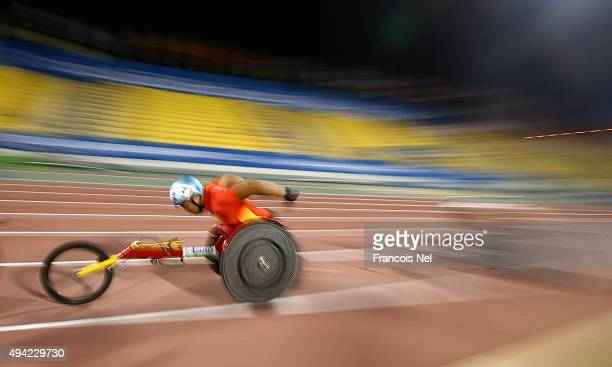 Yang Liu of China competes in the men's 500m T54 heats during the Evening Session on Day Four of the IPC Athletics World Championships at Suhaim Bin...