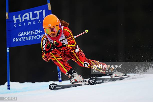 Yang Liu of China skis in the Women's Giant Slalom during the Alpine FIS Ski World Championships on the Kandahar course on February 17 2011 in...