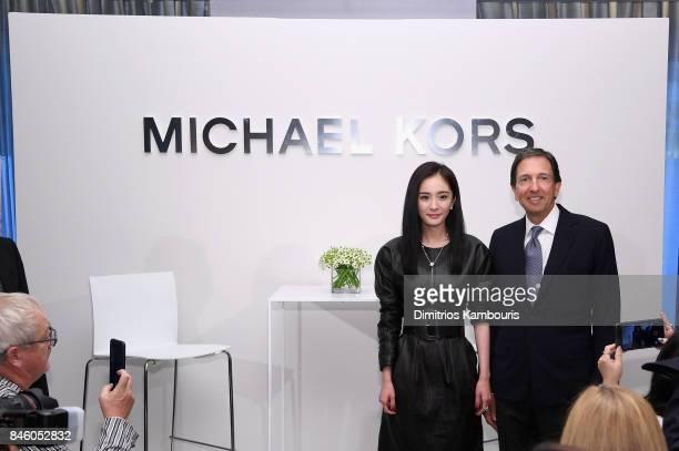 Yang Mi and John D Idol attend the annoucement of Yang Mi as Brand Ambassador for Michael Kors at Park Hyatt Hotel New York on September 12 2017 in...