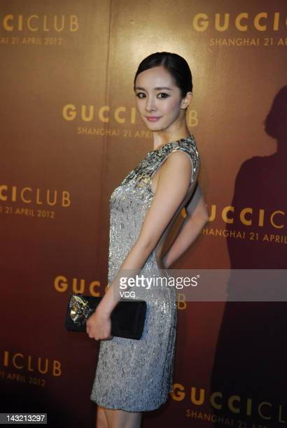 Yang Mi arrives to attend the launch of the new Gucci campaign starring Li Bing Bing at The Peninsula Hotel on April 21 2012 in Shanghai China