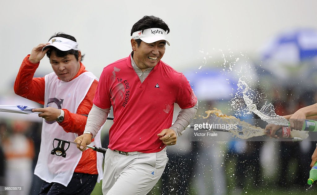E Yang of Korea celebrates after winning the Volvo China Open on April 18 2010 in Suzhou China
