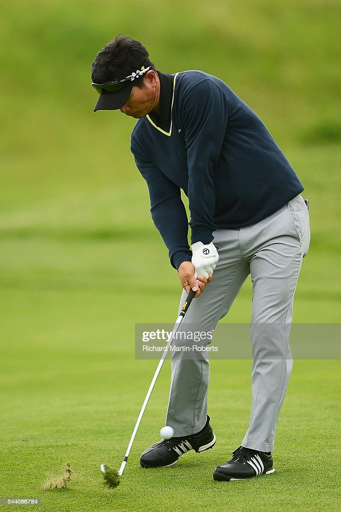 Y.E. Yang of Korea hits his 2nd shot on the 12th hole during the second round of the 100th Open de France at Le Golf National on July 1, 2016 in Paris, France.