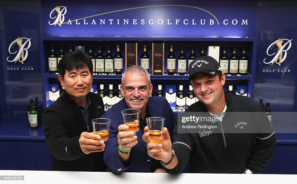YE Yang of Korea Paul McGinley of Ireland and Patrick Reed of the USA pose for a photograph during the Ballantine's Golf Club Media Event Hosted By...