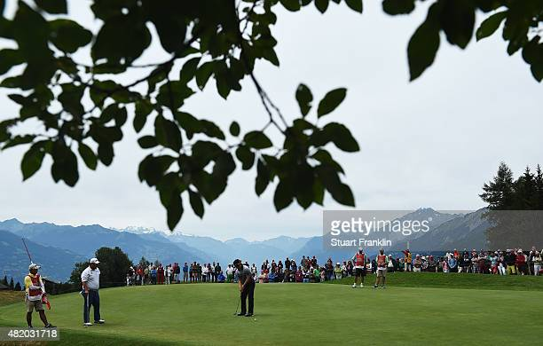 Yang of Korea plays a shot during the final round of the Omega European Masters at CranssurSierre Golf Club on July 26 2015 in CransMontana...