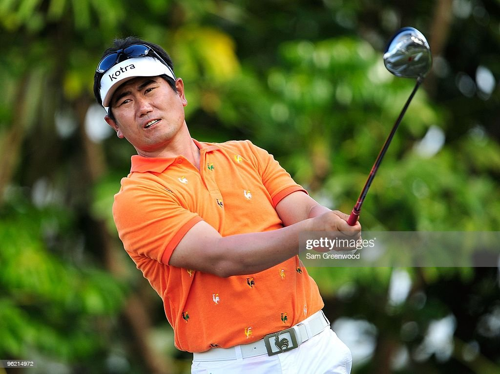 E Yang of Korea plays a shot during the second round of the Sony Open at Waialae Country Club on January 15 2010 in Honolulu Hawaii