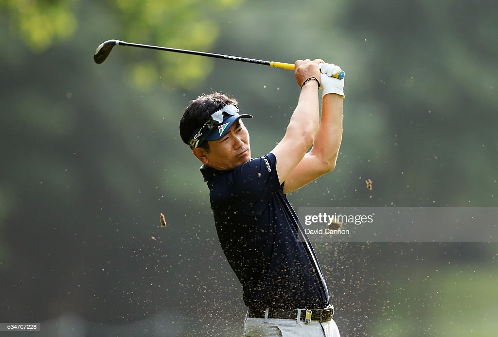 Y.E. Yang of Korea plays a shot on the 17th hole during day two of the BMW PGA Championship at Wentworth on May 27, 2016 in Virginia Water, England.