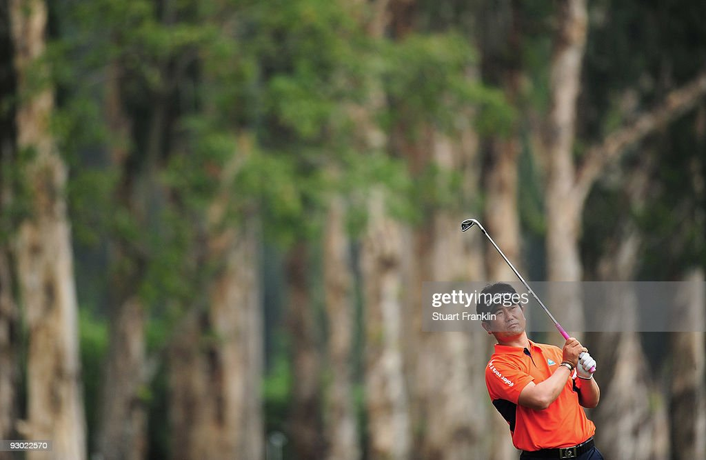 Yang of Korea plays his approach shot on the seventh hole during the second round of the UBS Hong Kong Open at the Hong Kong Golf Club on November 13...