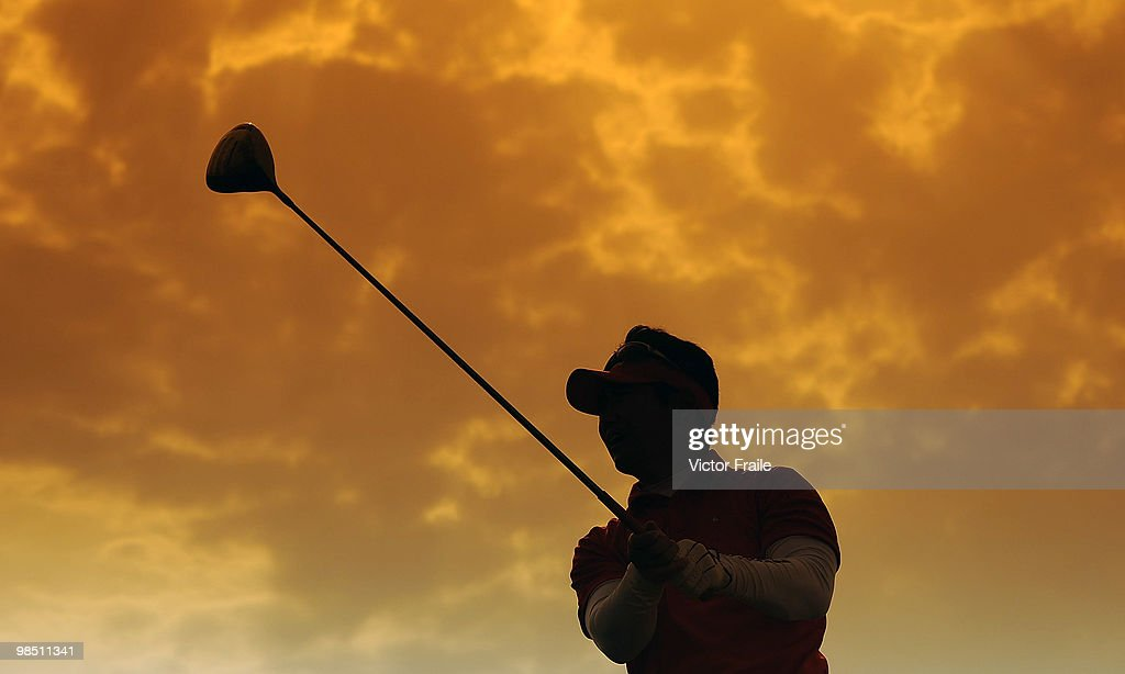 YE Yang of Korea tees off on the 18th hole during Round Three of the Volvo China Open on April 17 2010 in Suzhou China