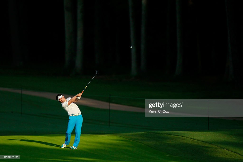 E Yang of South Korea hits a shot on the 12th hole during the second round of the 93rd PGA Championship at the Atlanta Athletic Club on August 12...